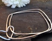 British Handmade silver double square bangles with silver heart.