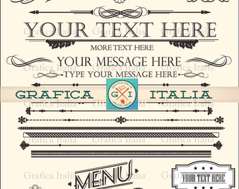 Calligraphy Clipart Set - Typography Clip Art - Frames Scrolls Dividers - Graphic Design Elements - Digital Download DIY Wedding Invitations