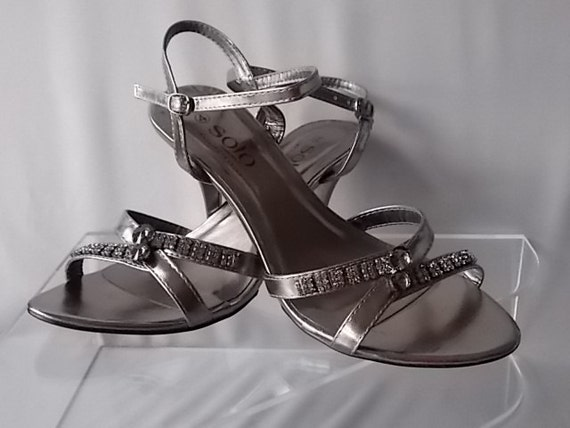 pewter evening shoes leather formal by discerningvintage