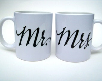 Mr. & Mrs. Calligraphy  Coffee Mug Set
