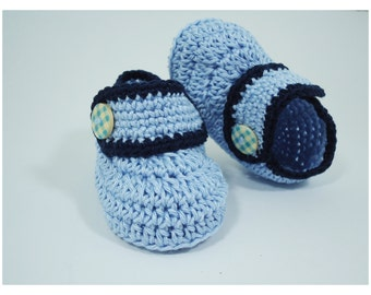 Crochet Baby shoes, Baby shoes, Custom baby shoes, fashion baby shoes, baby accessories - For him - Blue version
