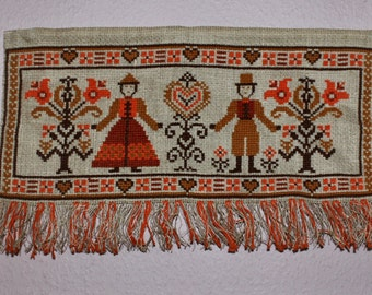 Lovely vintage folk art wall hanging Tapestry. Hand embroidered with cross stitch. Made in Sweden Scandinavian.