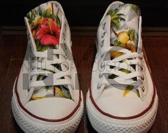 Grey Island Floral Print Converse Chuck Taylor All Star Ox Low Top Men & Women