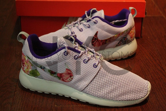 uxhrd Nike Roshe Run Violet Frost Delicate Rose Floral by NYCustoms