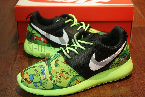 mxnhs Nike Roshe Run Black Flash Lime Ninja Turtle Cartoon by NYCustoms