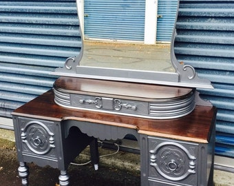 SOLD!! Vintage Metallic Silver Gray Vanity