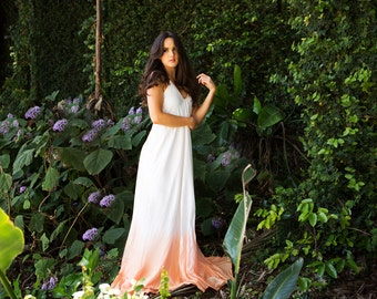Leilani dip dyed dress. White silk gown gradating into coral dip dye, with low back and v neck front