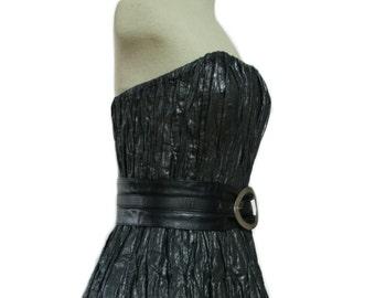 Black corset-top, gathered cotton-metallic