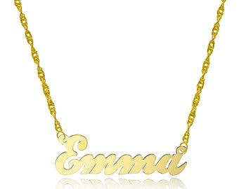 10k Yellow Gold Personalized Name Necklace - Style 4 - Customize Any Name