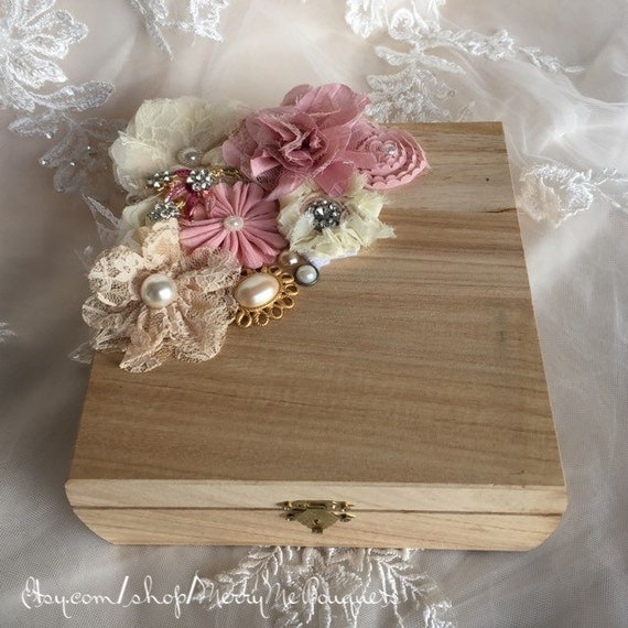 Shabby Chic Pillow Boxes : Shabby Chic Ring Bearer Box Ring Bearer Pillow by MerryMeBouquets