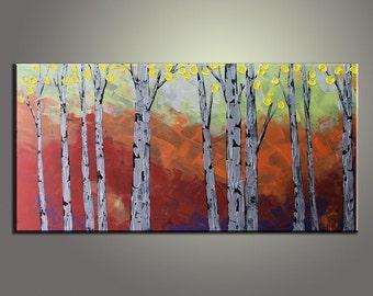 "Texture Palette Knife Oil Painting 48"" Autumn Birch Tree Landscape Painting Large Painting Oil Painting Original Painting Landscape Painting"