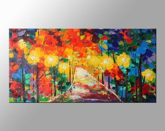 "Landscape Oil Painting, Abstract Original Modern Art, 48"" palette knife, Road at Night, impasto, oil painting by Clark Turner Vivid Color"