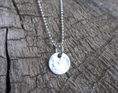 Sterling Silver Moon Small Round Pendant  Necklace