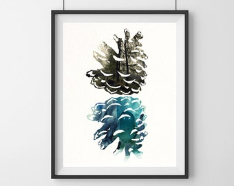 Watercolor Pine Cone, Pine Cone Art Painting, Watercolor Art Print, Pine Cone Print Wall Decor, Pine Cone Photo, Blue Gift Poster-10