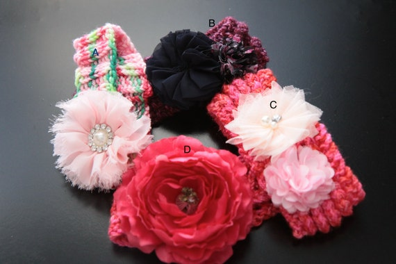 Knitting Pattern Baby Headband Flower : Baby Girl Knit Headband, Flower Knitted Headband, 0-6 ...