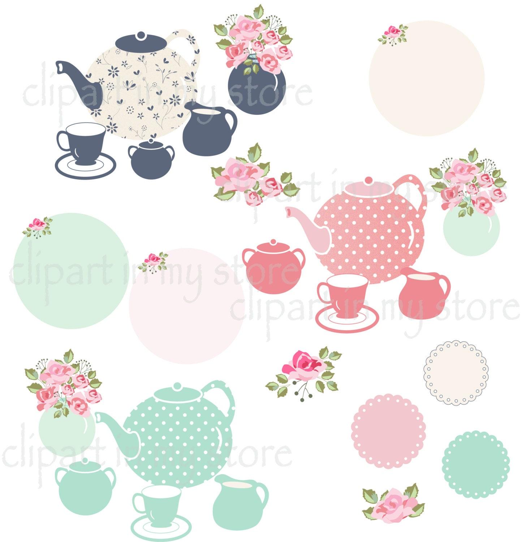 Tea pot and cup clipart