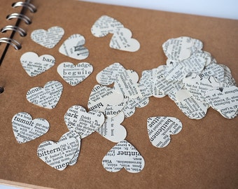 Vintage dictionary heart confetti scatter pack of 200