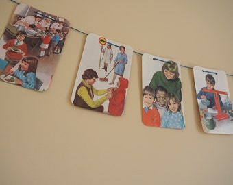 Vintage Children's ladybird book bunting, paper banner, up cycled book, nursery decor, playroom