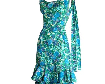 Vintage Neiman Marcus Dress 1950s 1960s  / Bow Dress Watercolor Blue & Green Flower Print / Pin Up Bombshell Rockabilly Dress