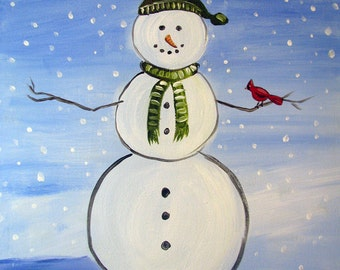 SNOWMAN art PRINT signed by artist Nicole Troup, winter paintings, home decor, decorative art, acrylic painting, snow landscape painting