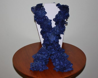 Hand Crochet Ruffle Scarf - Sashay Scarf - Handmade - Blue - Sequins