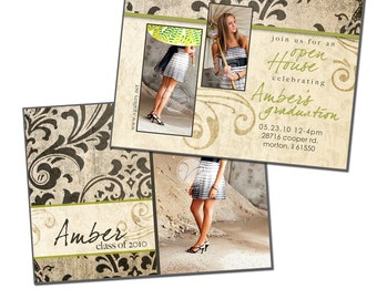 4x5.5 Double Sided Card Template - NATURAL DAMASK - Digital File