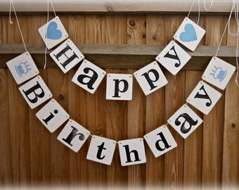 HAPPY BIRTHDAY Banner/happy birthday bunting/Blue Happy Birthday Photo prop/birthday bunting/birthday sign/birthday party decoration/rustic