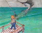 Mr. Pig goes deep sea fishing off the pier; Swordfish; Greeting Card;  Original art card; blank card inside; print