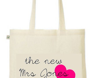Personalised the new Mrs your name printed tote/shopper bag - wedding married hen night party