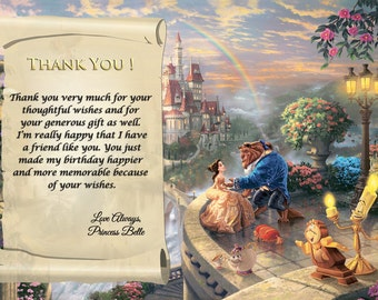Beauty and the Beast Thank You Card. 5x7, 4x6 Digital File Birthday Printable Thank You Card