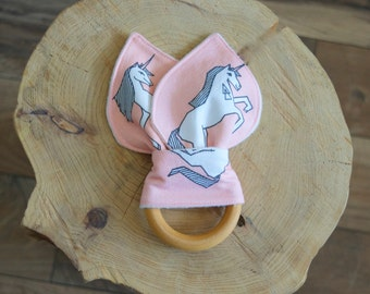 Unicorn Teether - Organic Bunny Ear Teething Toy - Pink and White Unicorns and Triangles Eco Cotton and Organic Bamboo Fleece backing
