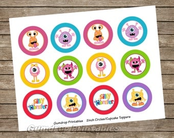 Silly Little Monster Cupcake Toppers 2 Inch Circles Images ~ Instant Download ~ Monster Birthday Printable Image Sheet