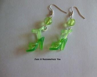 Handcrafted Green Barbie Shoe Earrings