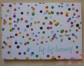 Guestbook A4 Watercolour Confetti 'Hip Hip Hooray' for Weddings, Engagements, Birthdays