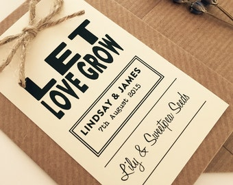 10 Vintage/Rustic Personalised Seed envelopes with tags for wedding Favours