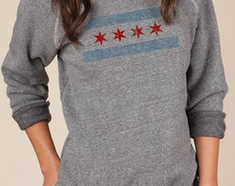 Chicago Flag Sweatshirt - Eco Grey