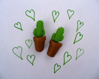 Light Green Cactus Barrette in Planter