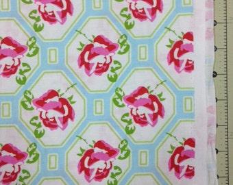 Sugar Hill by Tanya Whelan - Rose Trellis in Blue - 1 yard cotton fabric