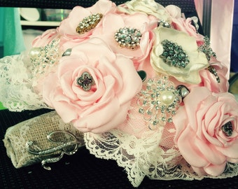 Custom Handmade Satin Flower Bouquet with Brooches and Embellishments