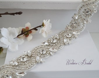 Bridal Sash Belt, Bridal Belt, Sash Belt, Wedding Dress Belt, Crystal Rhinestone Belt, Style 178