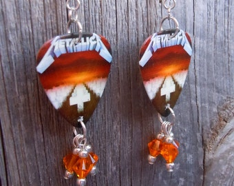 Metallica Master of Puppets Guitar Pick Earrings with Crystals