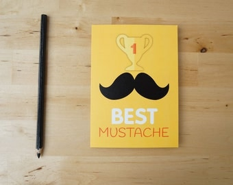 N1 Best Mustache - Hipster Greeting Card for birthday or father's day card