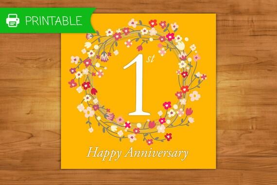 Auguri Primo Anniversario Matrimonio : Articoli simili a biglietto d auguri stampabile primo