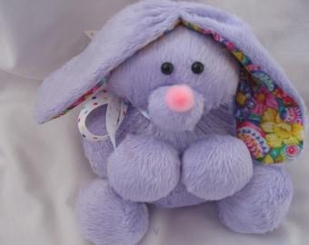 Mini Lavender Minky Dot Chenille Bunny