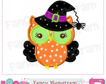 Witch Owl  Applique,Halloween owl design,Witch Hat design,Halloween,Witch,Witch applique,Owl,Witch embroidery,Halloween town. - 01
