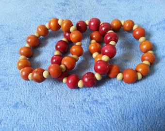 CLEARANCE: Set of 3 elasticated wooden bracelets by SerenitybyGJ