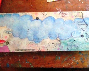 Mixed media over wood panel. The cloud girl.