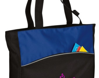 Personalized Cheer Royal/Black Colorblock Tote with FREE Personalization & FREE SHIPPING    B1510