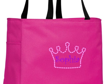 Personalized Crown Tropical Pink Essential Tote with FREE Personalization & FREE SHIPPING    B0750