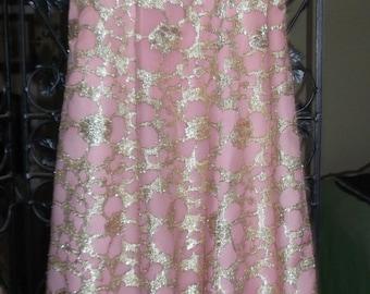 Vintage 1950s Metallic Gold Embloss & Pink Evening Gown (ANN'S VOGUE SHOPPE)